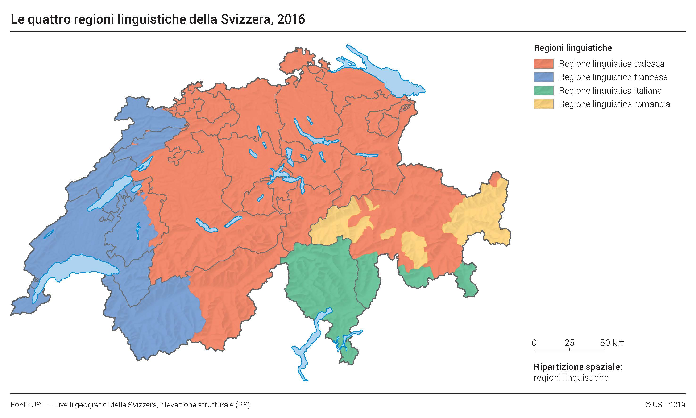 Map - The four linguistic regions of Switzerland, 2016. In order of the most represented: German, French, Italian and Romansh.