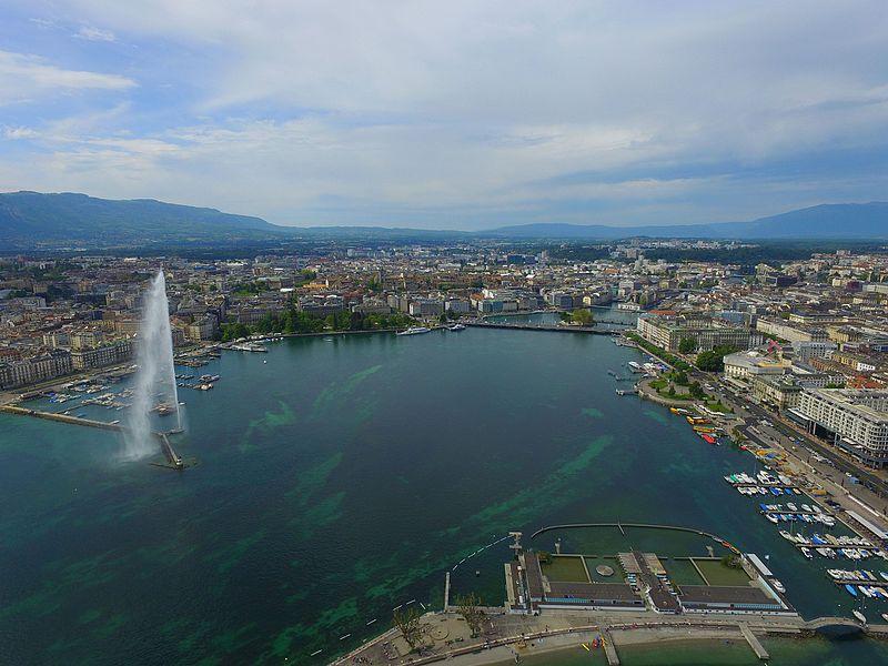 vue aérienne jet d'eau geneve