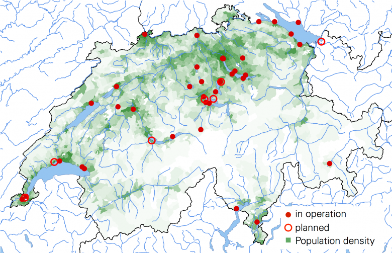 Lake-water heating or cooling systems already in operation or planned in Switzerland