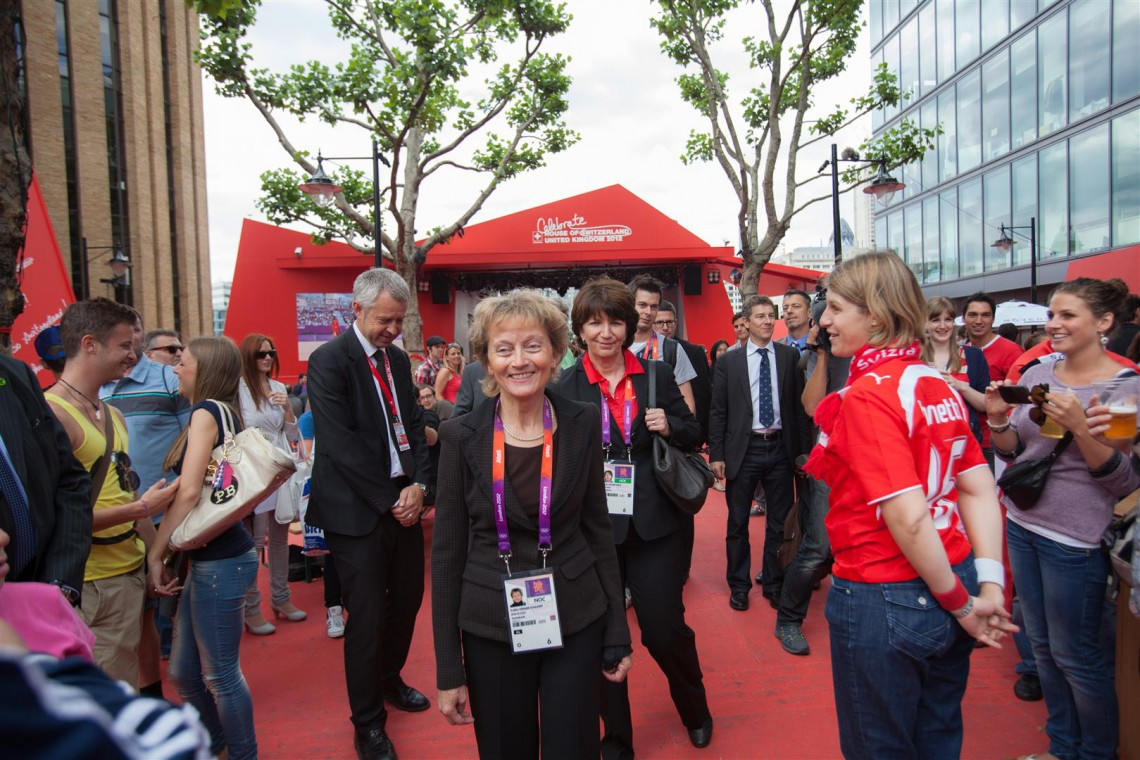 Eveline Widmer-Schlumpf, President of the Swiss Confederation, visits the House of Switzerland